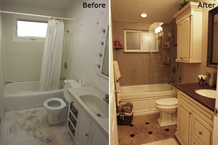 Bathroom remodel before and after pic