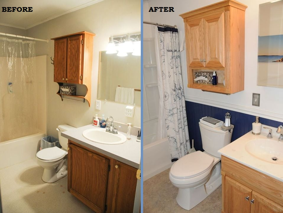 before and after picture of bathroom remodeling in south jersey